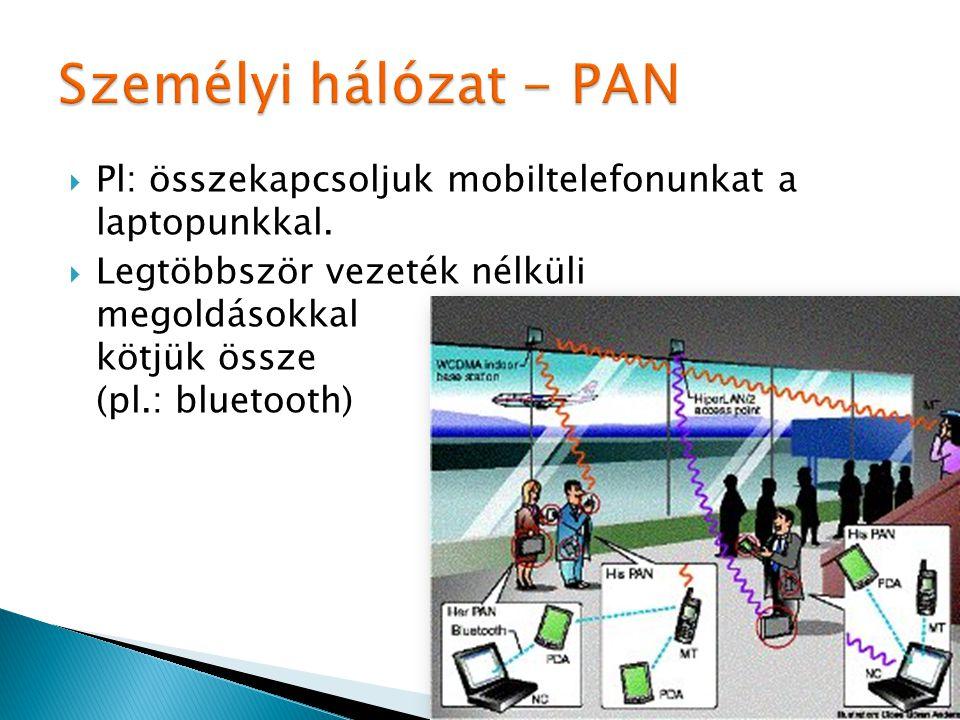 Személyi hálózat - PAN Pl: összekapcsoljuk mobiltelefonunkat a laptopunkkal.