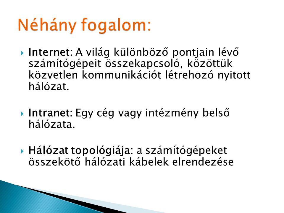 Néhány fogalom: Internet: A világ különböző pontjain lévő számítógépeit összekapcsoló, közöttük közvetlen kommunikációt létrehozó nyitott hálózat.