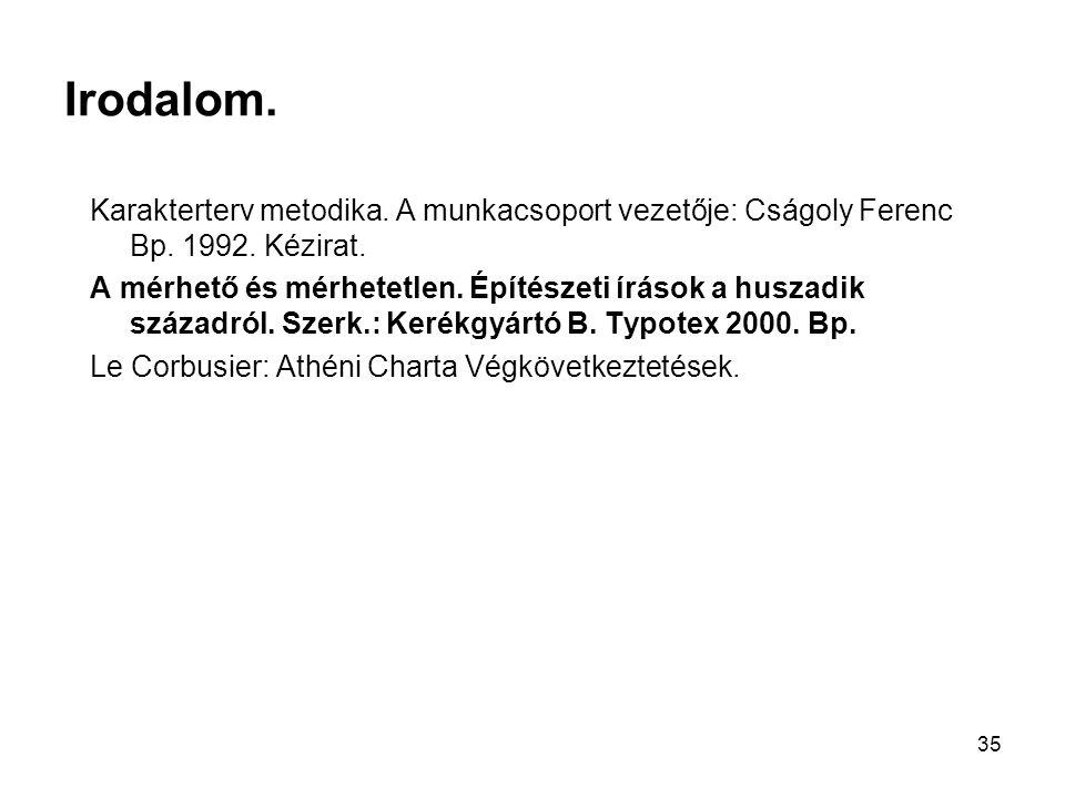 Irodalom. Karakterterv metodika. A munkacsoport vezetője: Cságoly Ferenc Bp. 1992. Kézirat.