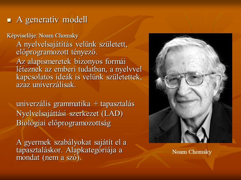 A generatív modell Képviselője: Noam Chomsky. A nyelvelsajátítás velünk született, előprogramozott tényező.