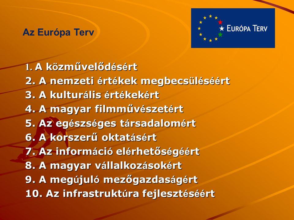 Az Európa Terv 1. A közművelődésért. 2. A nemzeti értékek megbecsüléséért. 3. A kulturális értékekért.