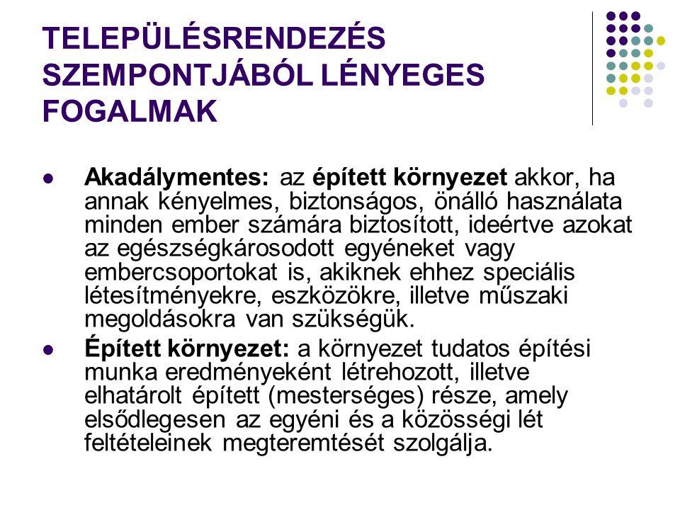 TELEPÜLÉSRENDEZÉS SZEMPONTJÁBÓL LÉNYEGES FOGALMAK