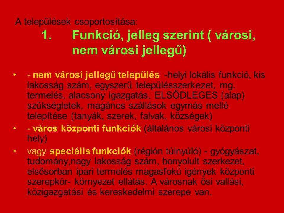 A települések csoportosítása: 1. Funkció, jelleg szerint ( városi,