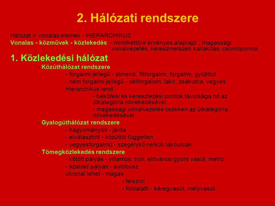 2. Hálózati rendszere Közlekedési hálózat