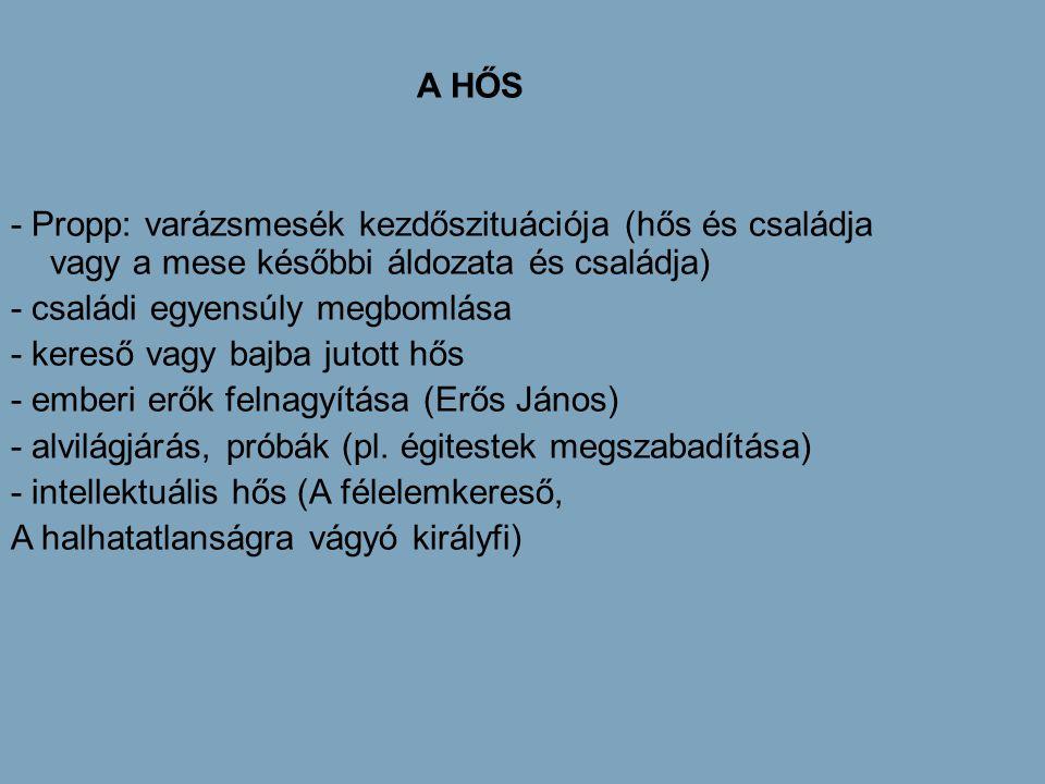 A HŐS - Propp: varázsmesék kezdőszituációja (hős és családja vagy a mese későbbi áldozata és családja)