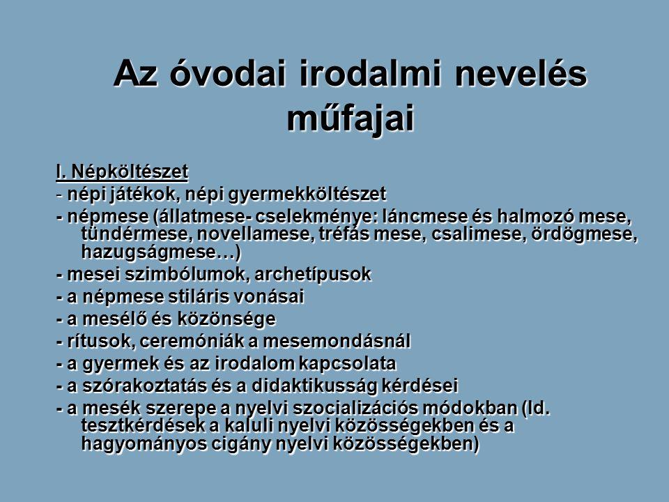 Az óvodai irodalmi nevelés műfajai