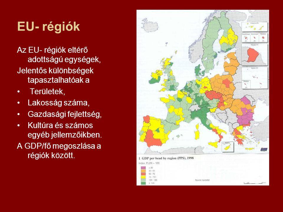 EU- régiók Az EU- régiók eltérő adottságú egységek,