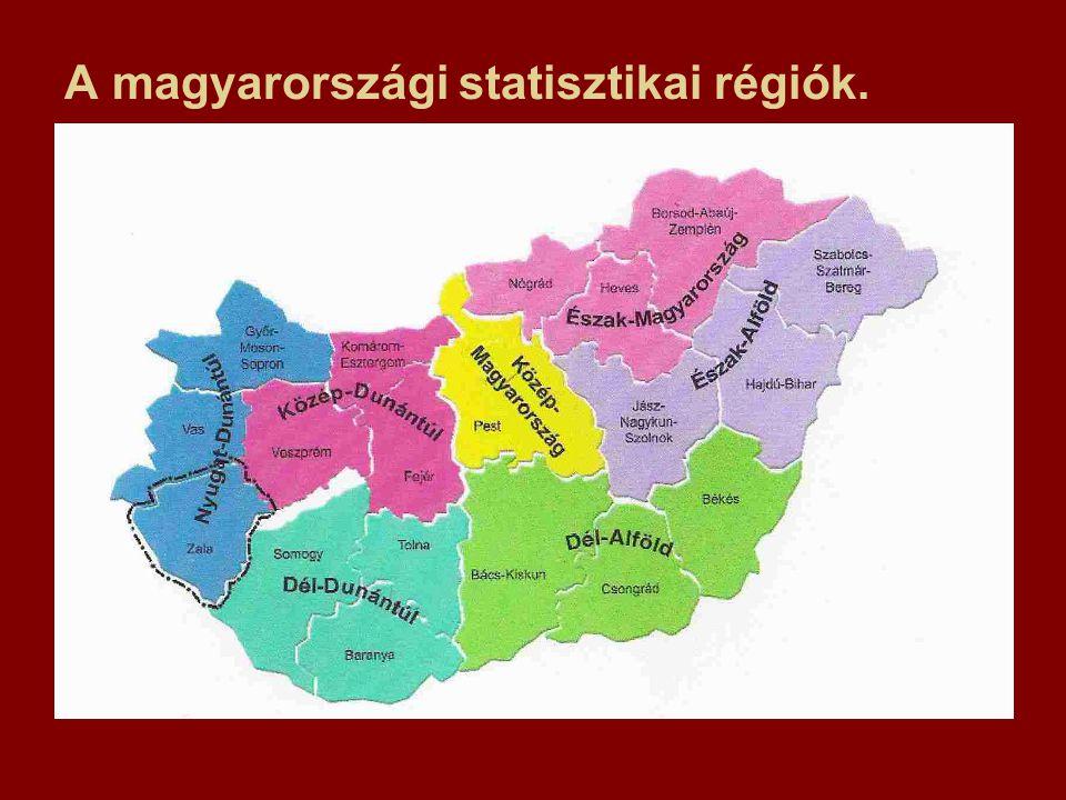 A magyarországi statisztikai régiók.