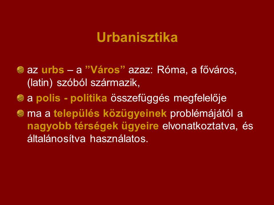 Urbanisztika az urbs – a Város azaz: Róma, a főváros, (latin) szóból származik, a polis - politika összefüggés megfelelője.