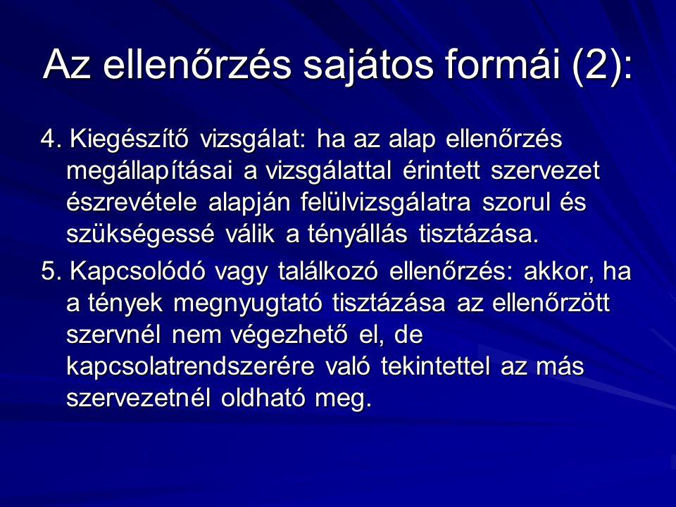 Az ellenőrzés sajátos formái (2):