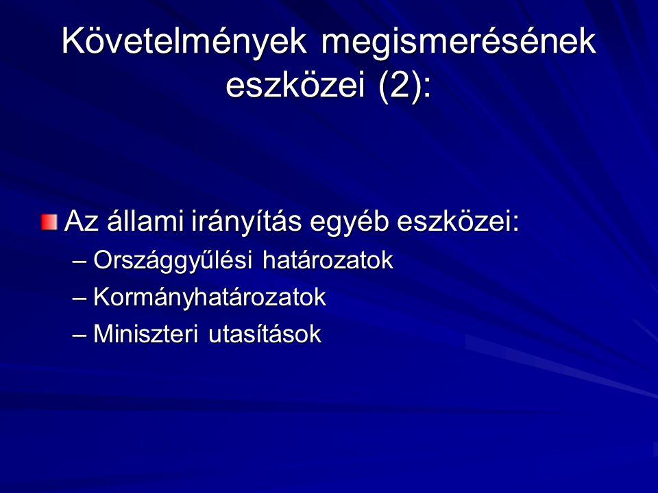 Követelmények megismerésének eszközei (2):