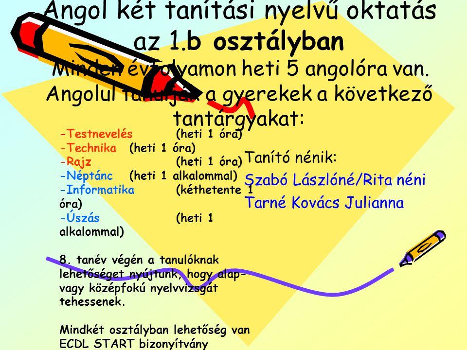 Angol két tanítási nyelvű oktatás az 1