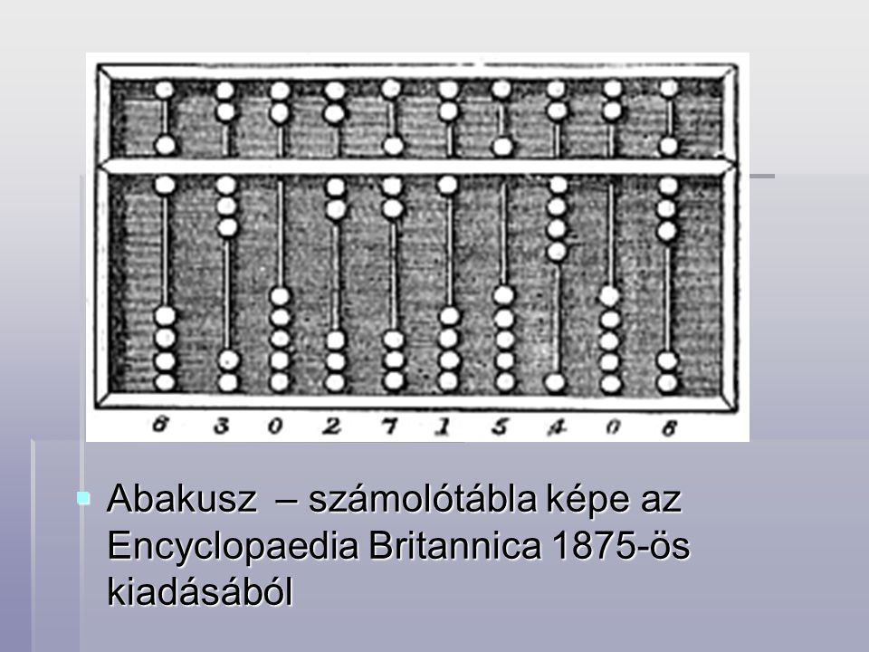 Abakusz – számolótábla képe az Encyclopaedia Britannica 1875-ös kiadásából