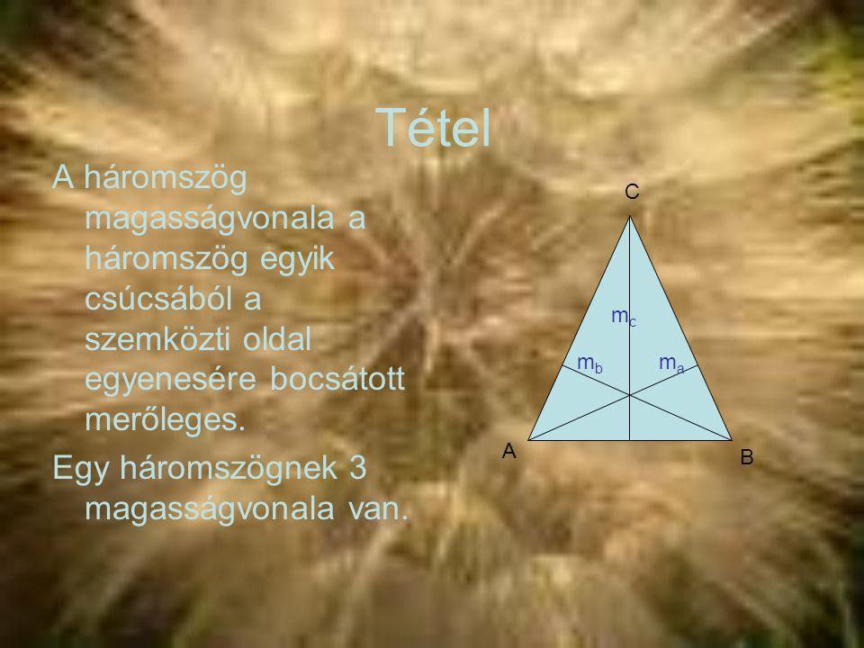 Tétel A háromszög magasságvonala a háromszög egyik csúcsából a szemközti oldal egyenesére bocsátott merőleges.