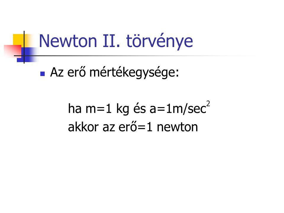 Newton II. törvénye Az erő mértékegysége: ha m=1 kg és a=1m/sec2
