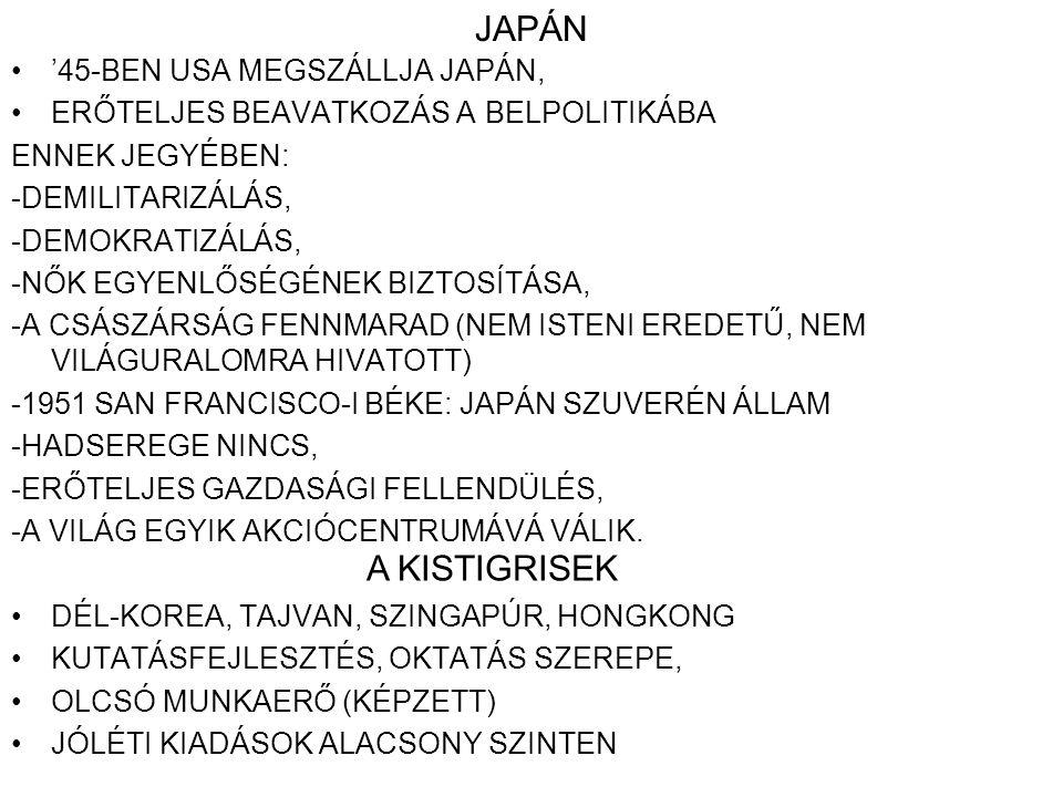 JAPÁN A KISTIGRISEK '45-BEN USA MEGSZÁLLJA JAPÁN,