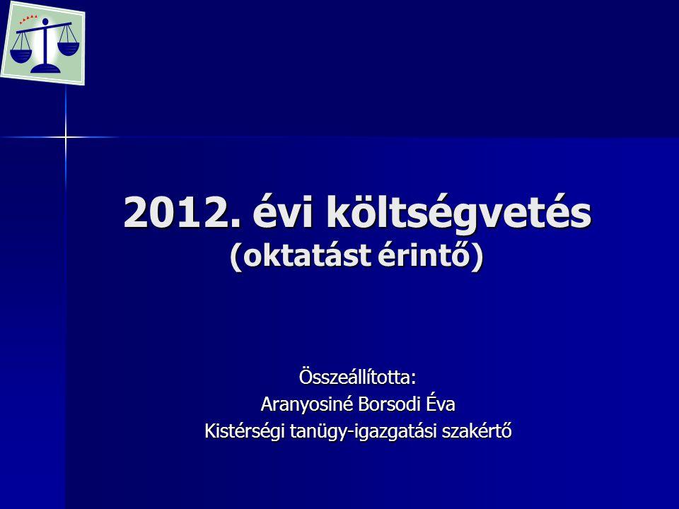 2012. évi költségvetés (oktatást érintő)
