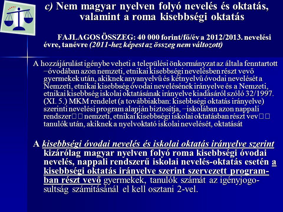 c) Nem magyar nyelven folyó nevelés és oktatás, valamint a roma kisebbségi oktatás