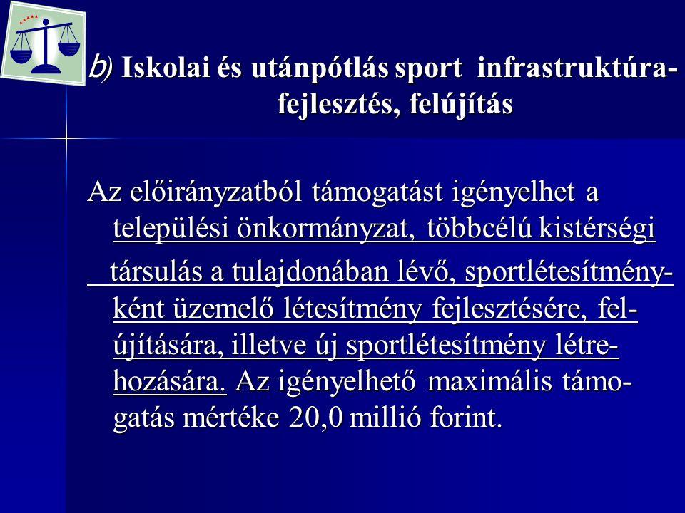 b) Iskolai és utánpótlás sport infrastruktúra-fejlesztés, felújítás