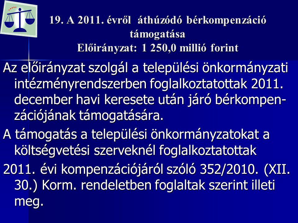 19. A 2011. évről áthúzódó bérkompenzáció támogatása Előirányzat: 1 250,0 millió forint