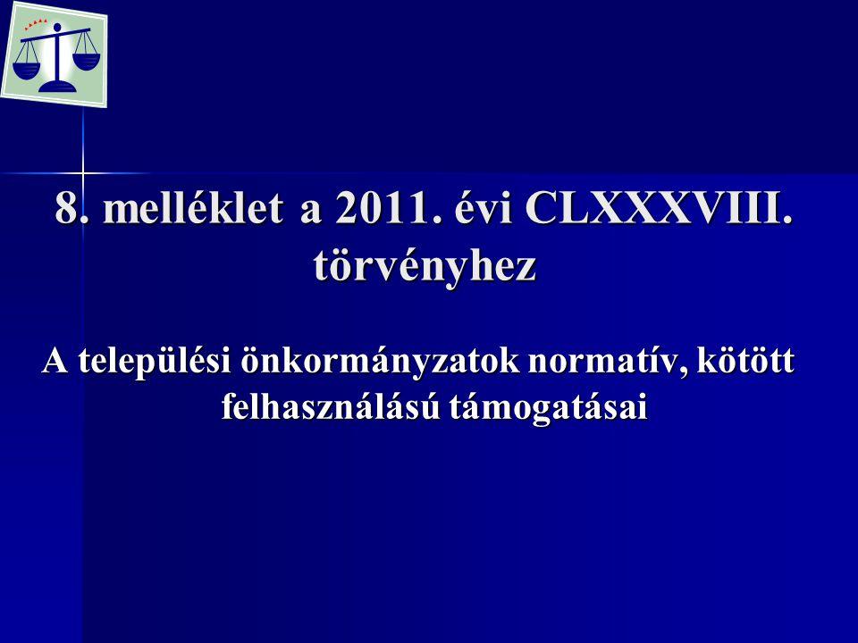 8. melléklet a 2011. évi CLXXXVIII. törvényhez