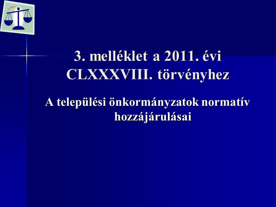 3. melléklet a 2011. évi CLXXXVIII. törvényhez