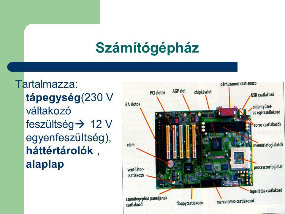 Számítógépház Tartalmazza: tápegység(230 V váltakozó feszültség 12 V egyenfeszültség), háttértárolók , alaplap.