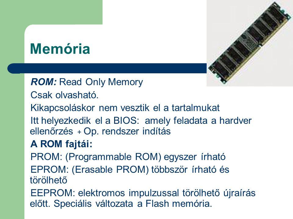 Memória ROM: Read Only Memory Csak olvasható.