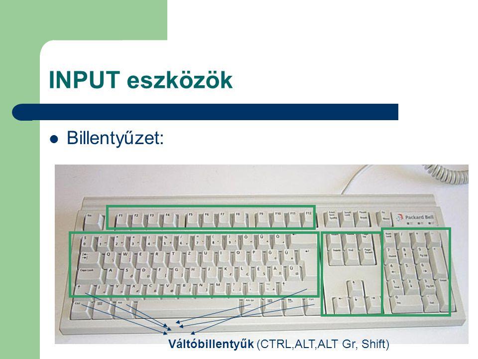 INPUT eszközök Billentyűzet: Váltóbillentyűk (CTRL,ALT,ALT Gr, Shift)