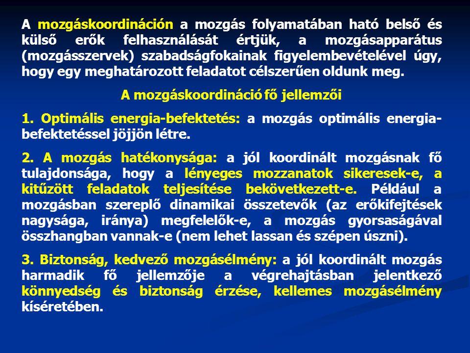 A mozgáskoordináció fő jellemzői