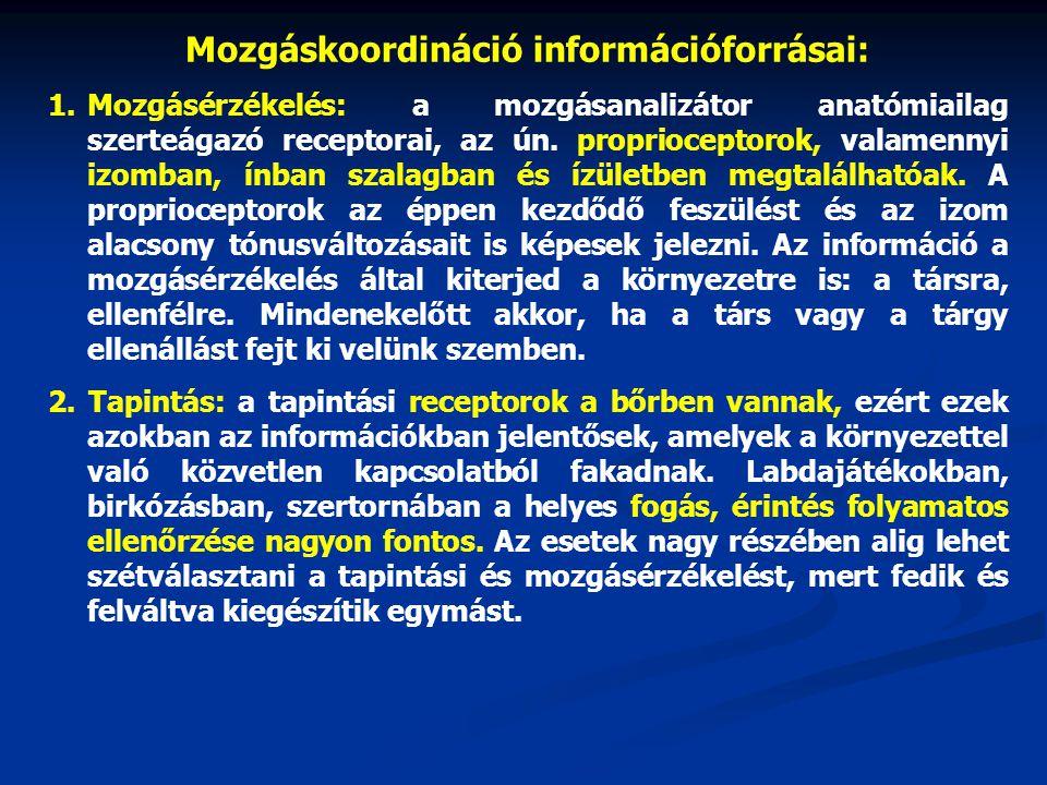 Mozgáskoordináció információforrásai: