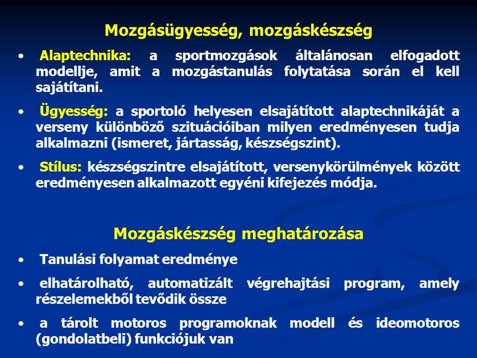 Mozgásügyesség, mozgáskészség Mozgáskészség meghatározása