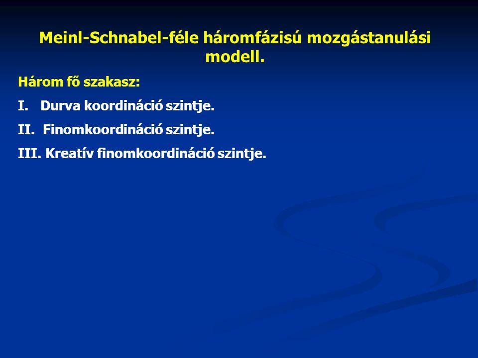 Meinl-Schnabel-féle háromfázisú mozgástanulási modell.