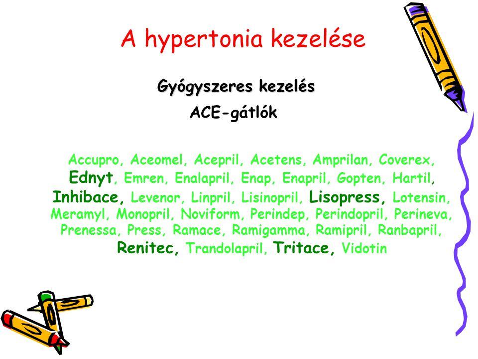 A hypertonia kezelése Gyógyszeres kezelés ACE-gátlók