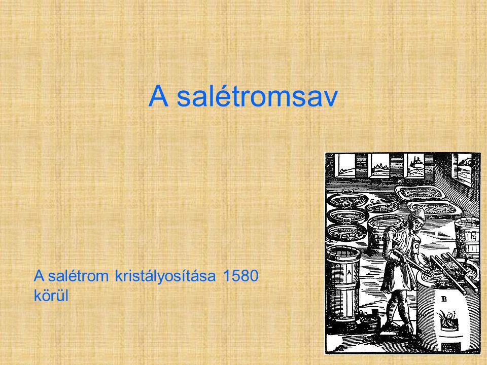 A salétromsav A salétrom kristályosítása 1580 körül