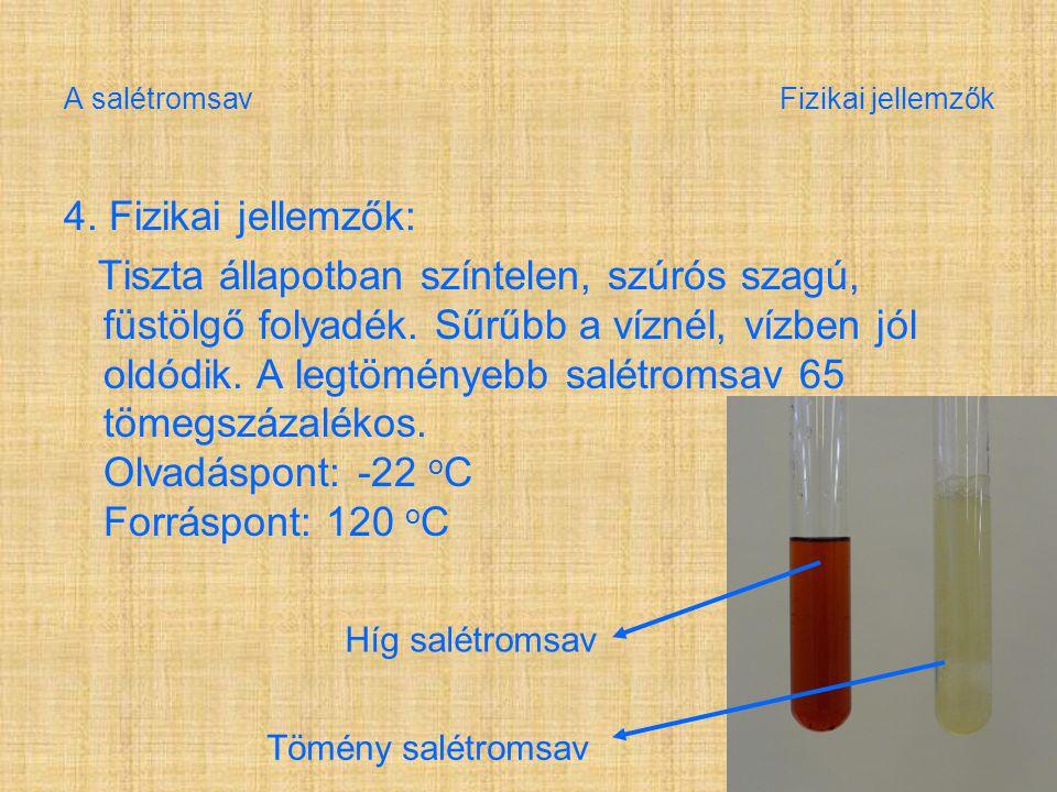 A salétromsav Fizikai jellemzők