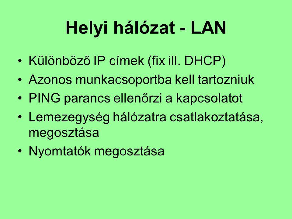 Helyi hálózat - LAN Különböző IP címek (fix ill. DHCP)
