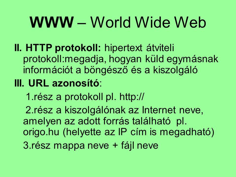 WWW – World Wide Web II. HTTP protokoll: hipertext átviteli protokoll:megadja, hogyan küld egymásnak információt a böngésző és a kiszolgáló.