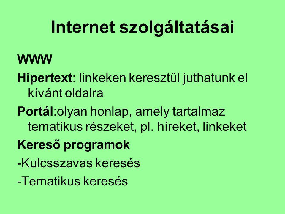 Internet szolgáltatásai