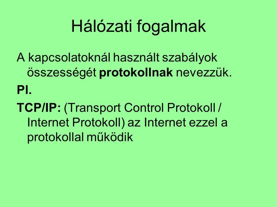 Hálózati fogalmak A kapcsolatoknál használt szabályok összességét protokollnak nevezzük. Pl.