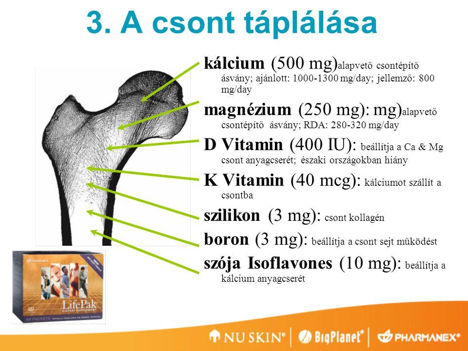 3. A csont táplálása kálcium (500 mg)alapvető csontépítő ásvány; ajánlott: 1000-1300 mg/day; jellemző: 800 mg/day.