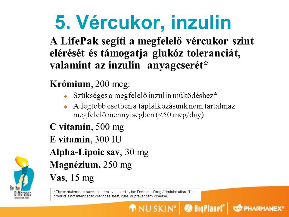5. Vércukor, inzulin A LifePak segíti a megfelelő vércukor szint elérését és támogatja glukóz toleranciát, valamint az inzulin anyagcserét*