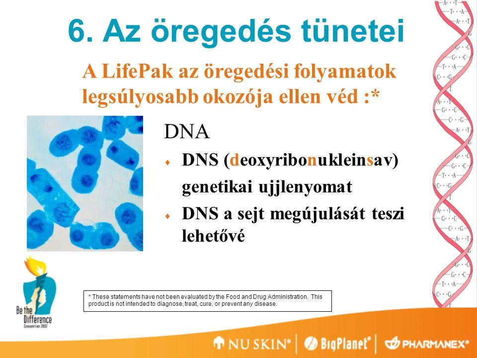 6. Az öregedés tünetei A LifePak az öregedési folyamatok