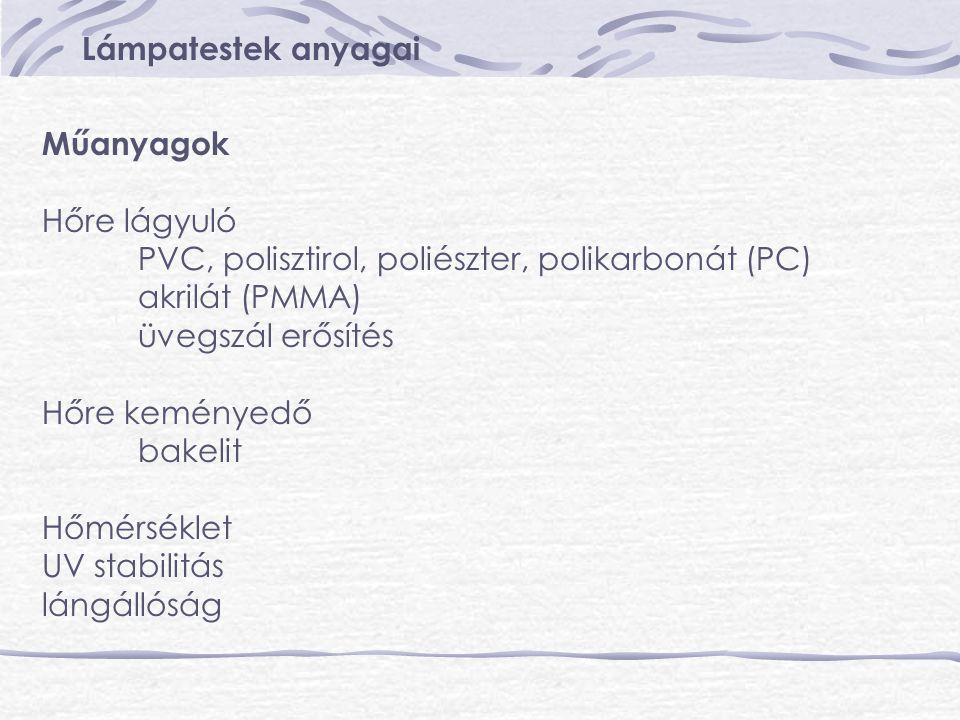 Lámpatestek anyagai Műanyagok. Hőre lágyuló. PVC, polisztirol, poliészter, polikarbonát (PC) akrilát (PMMA)