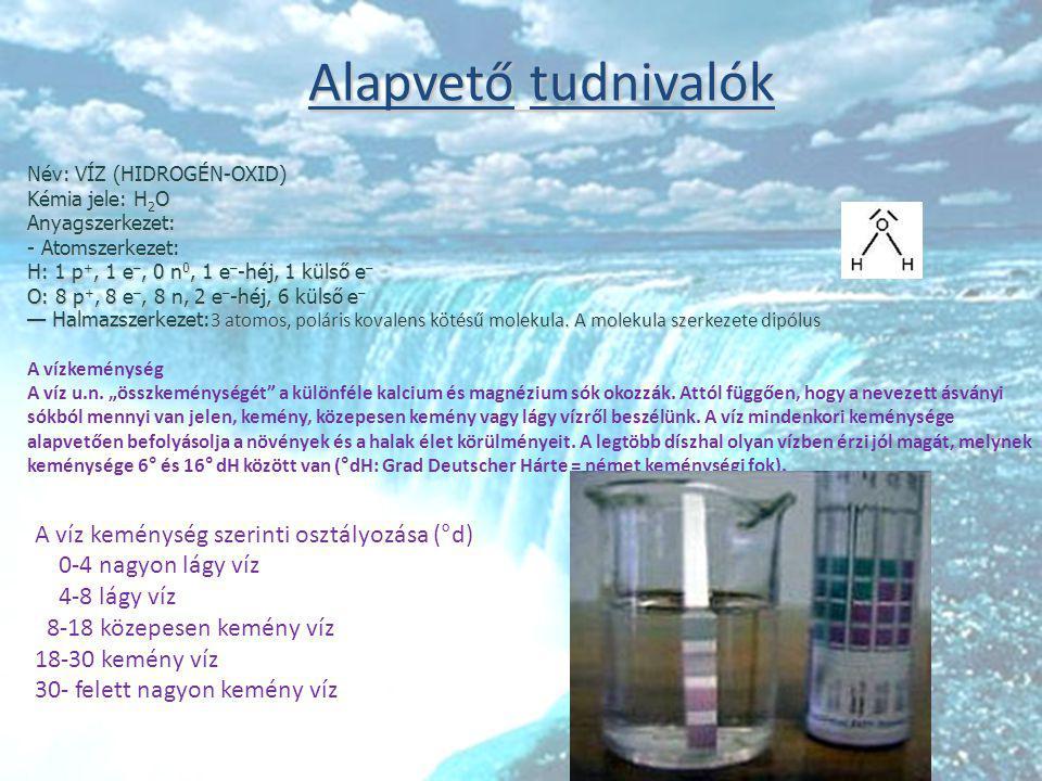 Alapvető tudnivalók Név: VÍZ (HIDROGÉN-OXID) Kémia jele: H2O.
