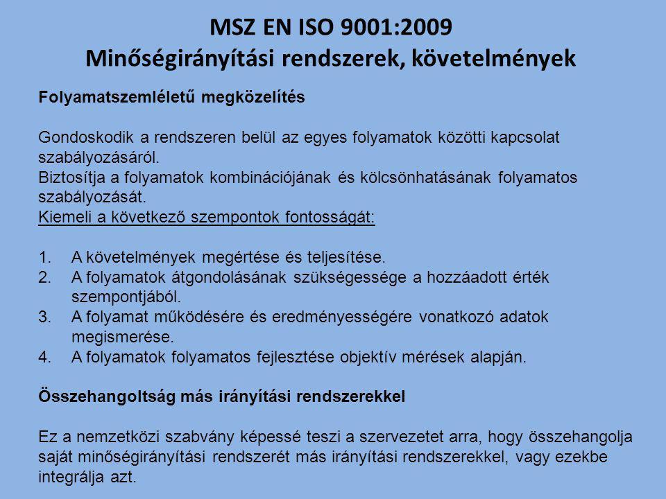 MSZ EN ISO 9001:2009 Minőségirányítási rendszerek, követelmények