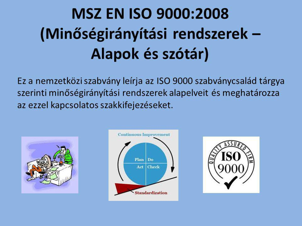 MSZ EN ISO 9000:2008 (Minőségirányítási rendszerek – Alapok és szótár)
