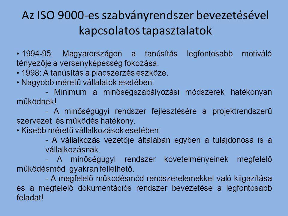 Az ISO 9000-es szabványrendszer bevezetésével kapcsolatos tapasztalatok