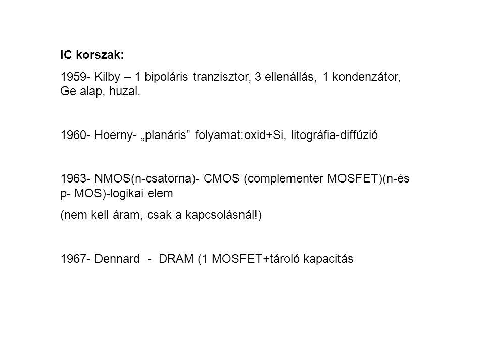 IC korszak: 1959- Kilby – 1 bipoláris tranzisztor, 3 ellenállás, 1 kondenzátor, Ge alap, huzal.