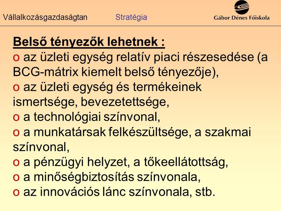 Vállalkozásgazdaságtan Stratégia